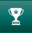 trophy cup flat icon simple winner symbol white vector image vector image
