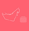 united arab emirates map from contour pink vector image vector image