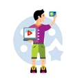 Video Blogger Flat style colorful Cartoon vector image vector image