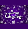 violet background with snowflake merry christmas vector image