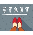 Young woman begin way start line new life vector image