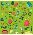 Colored Hand drawn Fitness doodle set vector image
