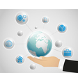 Network globe on the hand vector image