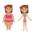fat and slim girls vector image