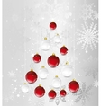 christmas card with tree in the shape of balls vector image