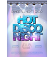 Disco background Hot disco night poster vector image