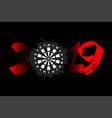 abstract number 2019 and a dartboard from blots vector image vector image