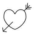 amour symbol thin line icon heart pierced with vector image