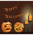 background Halloween pumpkins and candles vector image vector image