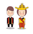 batak couple traditional national clothes of vector image vector image
