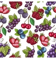 Berries fruits sketch seamless pattern vector image