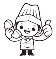 black and white happy chef mascot thumbed up a vector image vector image