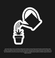 black watering can sprays water drops above vector image vector image