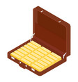 brown briefcase diplomat full golden bars vector image
