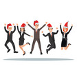 business people in christmas hats are jumped vector image