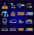 cargo express neon icons vector image vector image
