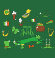 cartoon elements for the irish st patricks day vector image
