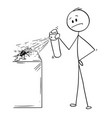 cartoon of man hitting and killing a bug or vector image
