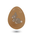 chocolate 3d easter egg with bunny on white vector image