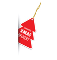 christmas tree red badge vector image vector image