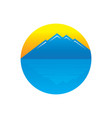 circle mountain sunset logo vector image vector image