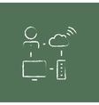 Cloud computing icon drawn in chalk vector image