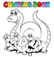 coloring book with young dinosaurs vector image vector image