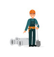 construction worker in overalls and protective vector image vector image