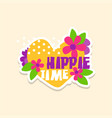 creative text hippie time with heart and flowers vector image vector image