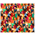 crowd people with medical masks vector image