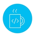 Cup of coffee with code sign line icon vector image