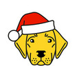cute labrador retriever in santa claus hat vector image vector image