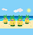 cute pineapples dancing on the beach summer vector image vector image