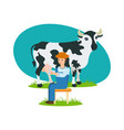 farmer sits near cow and is engaged in milking vector image