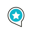 favorite speech bubble social media icon line and vector image