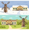 Flat image of rural houses and mills vector image