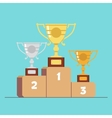 Gold silver and bronze medals on the podium vector image vector image