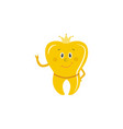 golden tooth crown cartoon character stands vector image vector image