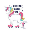 hand drawing print design unicorn and slogan vect vector image vector image