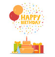 happy birthday card design with ballons confetti vector image vector image