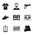 hip hop icon set simple style vector image vector image
