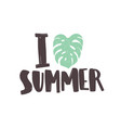 i love summer phrase written with creative funky vector image vector image