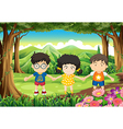 Kids holding their hands at the forest vector image vector image