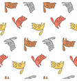 kids pattern with cute sitting colorful cats vector image