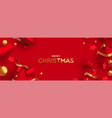 merry christmas banner 3d red and gold ornament vector image
