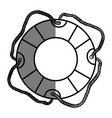 monochrome silhouette of flotation hoop with cord vector image vector image