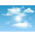 Nature background with sky sun and clouds vector image