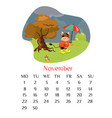 november calendar page 2021 with bull holding the vector image vector image