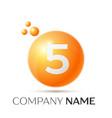 number five splash logo orange dots and bubbles vector image vector image
