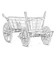 old wooden wagon drawing or vector image